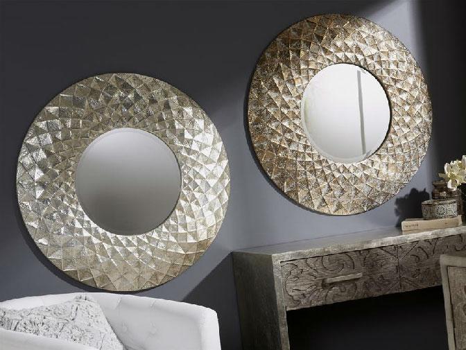 Espejos de metal grabado - Espejos de metal grabado redondo