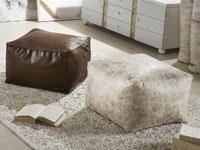 Puff Textil - Puff Textil blanco o marrón