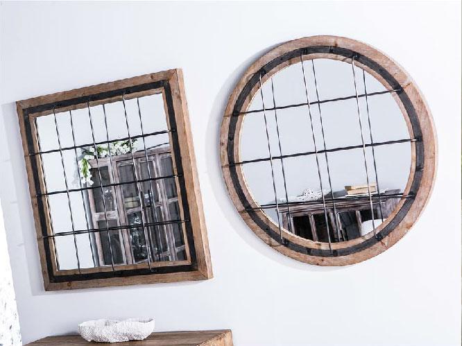Espejo madera rejilla - Espejo madera rejilla metal