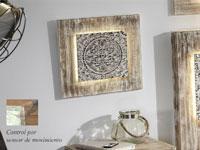 Mural de madera cuadrado Cassandra - Mural de madera cuadrado Cassandra con iluminación LED