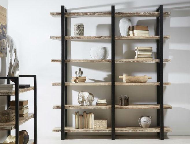 Mia home estanteria madera metal - Estanterias madera ...