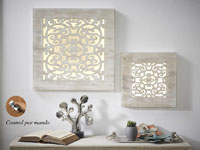 Panel madera tallada Natural con luz LED - Panel madera tallada Natural con luz LED