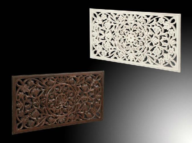 Panel tallado de madera - flores - Panel tallado de madera / flores