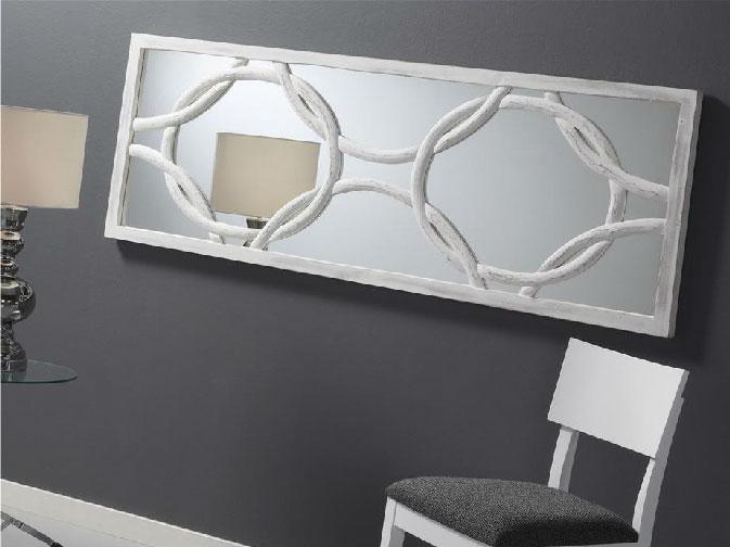 Espejo de madera tallada  - Espejo de madera tallada blanca