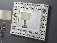 Espejo tallado de madera blanca - Espejo tallado de madera blanca