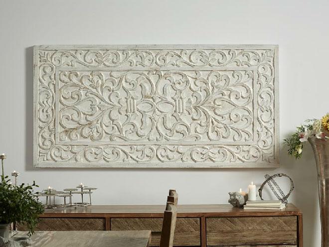 Mia home panel o cabecero de madera tallada blanco plata - Cabecero madera tallada ...