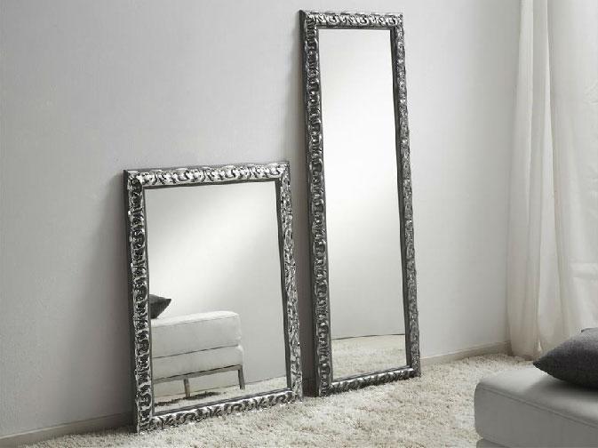 Espejo con marco en relieve plata - Espejo con marco en relieve plata
