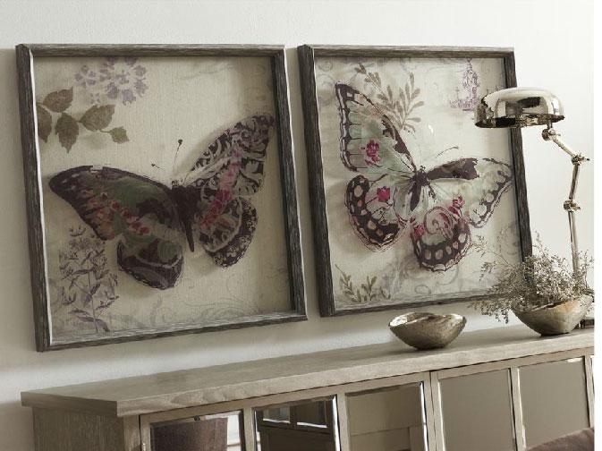 Mia Home Set cuadros mariposas cristal