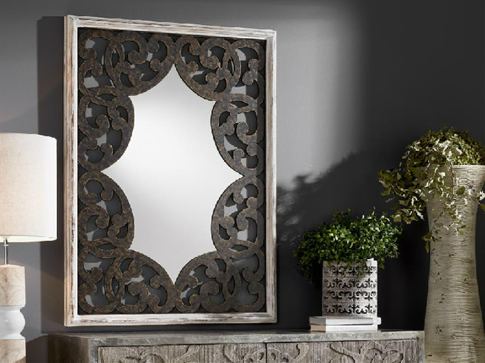 Espejo  rectangular de madera tallada - Espejo  rectangular de madera tallada