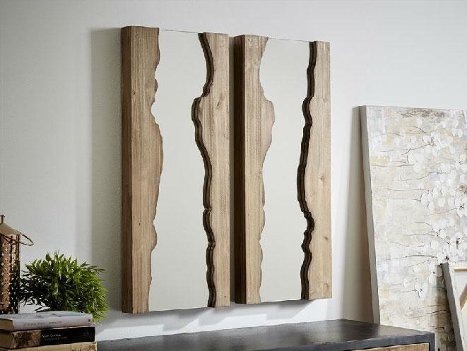 Mia home espejo madera rustica for Espejos de bano rusticos de madera