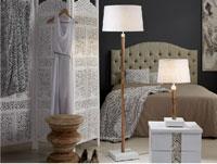 Lampara Nacar Textil - Lampara Nacar Textil, mástil en madera de teka