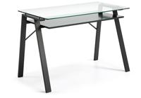 Mesa de escritorio Sauk - Mesa de escritorio Sauk, estructura de metal y tope de cristal