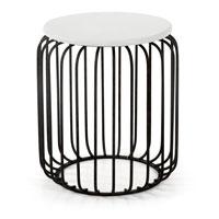 Mesa de salon baja Cascot - CASCOT Mesa auxiliar metal negro blanco