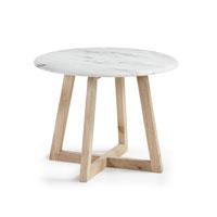 Mesa HELLA  - HELLA Mesa auxiliar pies madera sobre marmol blanco