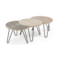 Set 3 mesas Hoss - HOSS Set 3 mesas centro pies metal sobre madera