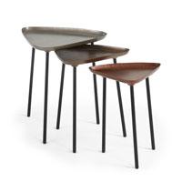 Set de mesa Itta - ITTA Set 3 mesas metal zinc latón cobre