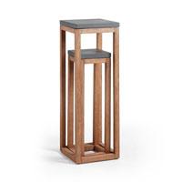 Set de pedestales Levor - LEVOR Set 2 pedestales acacia cemento gris