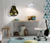 Mesa de escritorio Lisbet - Mesa de escritorio Lisbet, estructura de metal y tope de madera