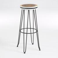 Taburete Farley - FARLEY Taburete asiento mader natural pata metal