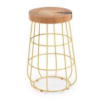 Mesa Glint - GLINT Mesa auxiliar metal dorado asiento madera natural