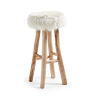 Taburete Nuvoli  - NUVOLI Taburete madera de teka, imitacion piel blanca