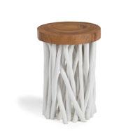 Mesa de salon baja Druf -  DRUF Mesa auxiliar madera blanca y natural