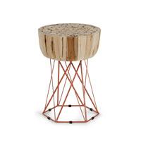 Mesa de salon baja Dekon - DEKON Mesa auxiliar metal madera natural