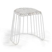 Taburete Echoe - ECHOE Taburete asiento coco pata metal blanco