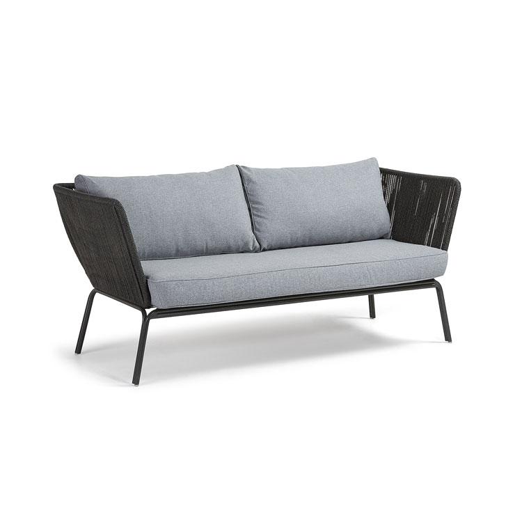 Sofa Bernon - BERNON Sofá metal cuerda gris oscuro cojín gris oscuro