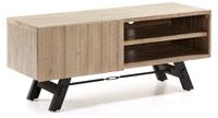 Mueble de televisión en madera de acacia maciza en acabado natural blanqueado 2 - Pies en metal pintado envejecido
