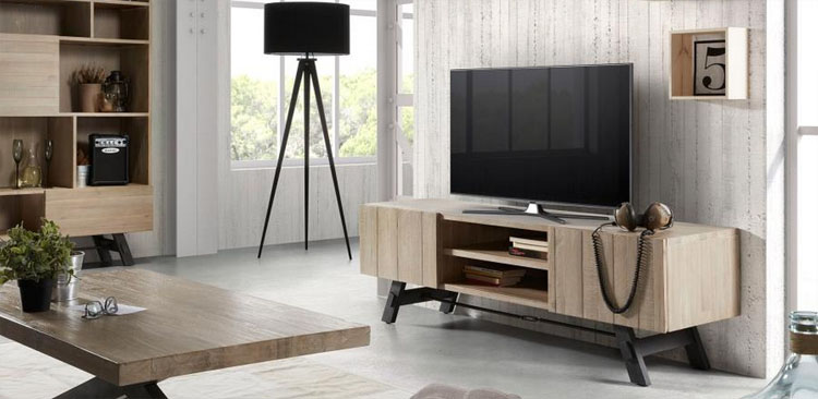 Mueble tv madera acacia natural for Muebles escandinavos