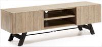 Mueble de televisión en madera de acacia maciza en acabado natural blanqueado - Pies en metal pintado envejecido