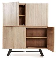 Aparador con puertas en madera de acacia maciza en acabado natural blanqueado
