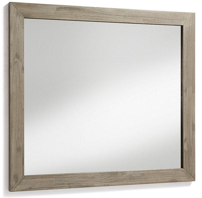 Espejo en madera de acacia maciza - Acabado teñido gris claro