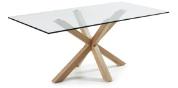 Mesa con pies de acero - Mesa de comedor de cristal