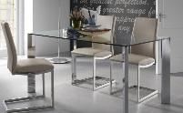 Mesa de cristal - Mesa de cristal con pies de acero cromado