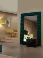 Espejo Paris - Espejo Paris, Tapizado en capitoné con telas de máxima calidad de tacto suave