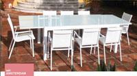 Mesa de comedor extensible Amsterdam - Conjunto con estructura de aluminio y textiline color blanco