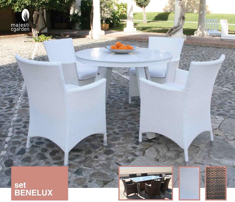 Set de comedor Benelux - Conjunto con estructura de aluminio y fibra sintética color marrón o blanco