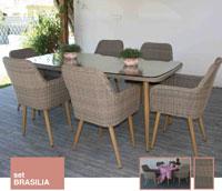 Set de comedor Brasilia - Conjunto con estructura de aluminio y fibra sintética color marrón