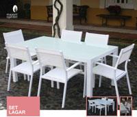 Mesa de comedor Lagar - Conjunto con estructura de aluminio y textiline color blanco
