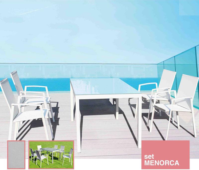 Mesa de comedor Menorca - Conjunto con estructura de aluminio y textiline color blanco