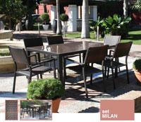 Mesa de comedor Milan - Conjunto con estructura de aluminio y fibra sintética color marrón
