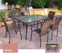 Serie trendy 1 conjunto de mesa de comedor - Conjunto con estructura de aluminio y fibra sintética color marrón