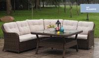 Set de sofá para exterior Algarve - Conjunto con estructura de aluminio y fibra sintética color marron