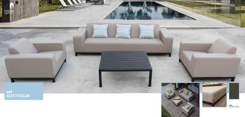 Set de sofá para exterior Australia - Set de sofá para exterior fabricado con estructura de aluminio Australia