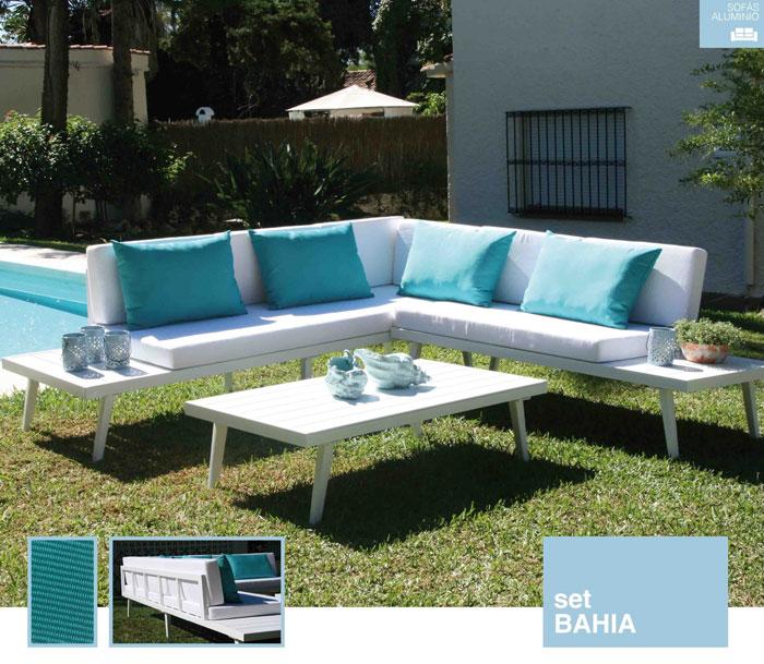 Set de sofá para exterior Bahia de aluminio - Conjunto con estructura de aluminio en color blanco