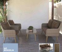 Set de sofá para exterior Brasilia - Conjunto con estructura de aluminio y fibra sintética de color marrón