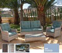 Set de sofá para exterior Cuzco - Conjunto con estructura de aluminio y fibra sintética de color marrón