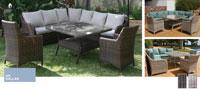 Set de sofá para exterior Dallas - Conjunto con estructura de aluminio y fibra sintética en 2 colores